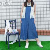 【ef-de】夏日洋裝 休閒鬆緊腰無袖褲裙洋裝(藍)