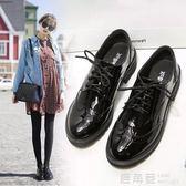 英倫風女鞋春復古厚底單鞋布洛克黑色繫帶學院軟底鬆糕牛津小皮鞋 鹿角巷