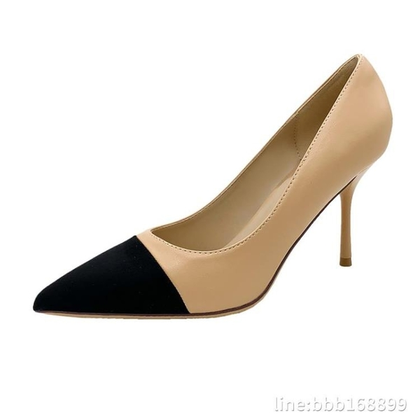 高跟鞋 高跟鞋女年新款拼色百搭尖頭細跟中跟氣質性感小香風女鞋單鞋 瑪麗蘇