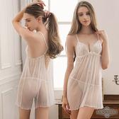 大尺碼Annabery純白透視美背柔紗二件式睡衣 SEXYBABY 性感寶貝NY14020040