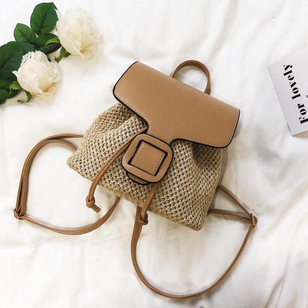 後背包  女包夏季新款韓版迷你編織背包小後背包 學院風休閒旅行包