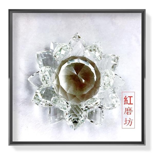 【Ruby工作坊】一朵白色奧地利水晶蓮花擺件(加持祈福) 【紅磨坊】NO.112LW