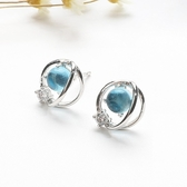 耳環:S925純銀幻想星球耳釘女藍琉璃  【新飾界】