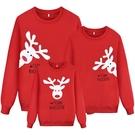 爆款紅色聖誕麋鹿印花長袖親子裝情侶裝(小孩)