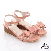 A.S.O 玩美涼夏 牛皮立體蝴蝶結楔型涼鞋  粉橘