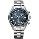 CITIZEN 星辰 限量 鈦 光動能電波萬年曆手錶-藍x銀/43mm BY0140-57L