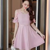 小三衣藏[98668-QF]優雅甜美氣質透視荷葉短袖A字裙襬顯瘦洋裝