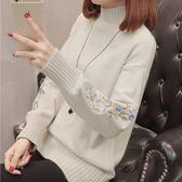 毛衣 半高領毛衣加厚短款打底針織衫新款套頭韓版寬松