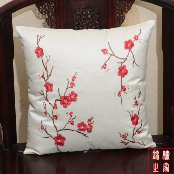 新古典回紋刺繡花田園沙發抱枕汽車床頭靠墊辦公室腰枕套午睡靠枕