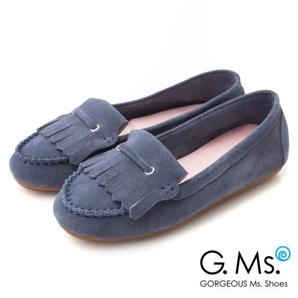 G.Ms.* 牛麂皮減壓豆豆底流蘇莫卡辛鞋-藏青藍