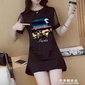 夏季新款韓版中長款短袖t恤女上衣修身顯瘦純棉體恤打底衫潮【果果精品】
