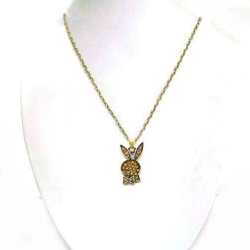 金色小兔古青銅水鑽長項鍊