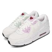 Nike 休閒鞋 Air Max 90 VDAY 白 紫 綠 女鞋 情人節 愛心 粉色系 運動鞋 【ACS】 CI7395-100