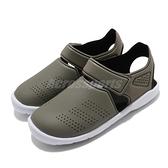 adidas 涼拖鞋 Fortaswim Stripes C 綠 白 童鞋 中童鞋 魔鬼氈 拖鞋 【ACS】 FW6046