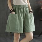 口袋短褲女夏季直筒休閒寬管褲純棉寬鬆加大碼加肥鬆緊腰外穿褲衩 黛尼時尚精品