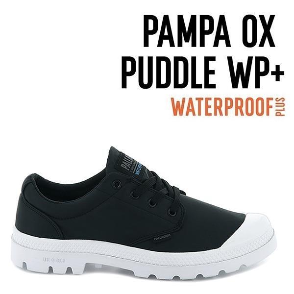 【南紡購物中心】【PALLADIUM】PAMPA OX PUDDLE LT+ WP 輕量雨傘布防水低筒 / 黑白 男女鞋
