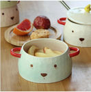 卡通泡面碗陶瓷餐具套裝帶手柄Eb8208『毛菇小象』