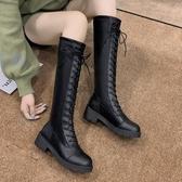 膝上靴 長靴女過膝靴2019新款秋季靴子ins百搭粗跟長筒秋款高筒騎士靴潮【快速出貨八五折】
