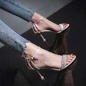 夏季新款女士涼鞋時尚水鑽百搭仙女風一字扣帶網紅細跟高跟鞋 凱斯盾