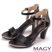MAGY 摩登時尚 全真皮一字繫踝繞帶高跟涼鞋-黑色