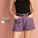限量現貨◆PUFII-短褲 素面牛仔五分短褲(附皮帶)- 0514 現+預 夏【CP18506】