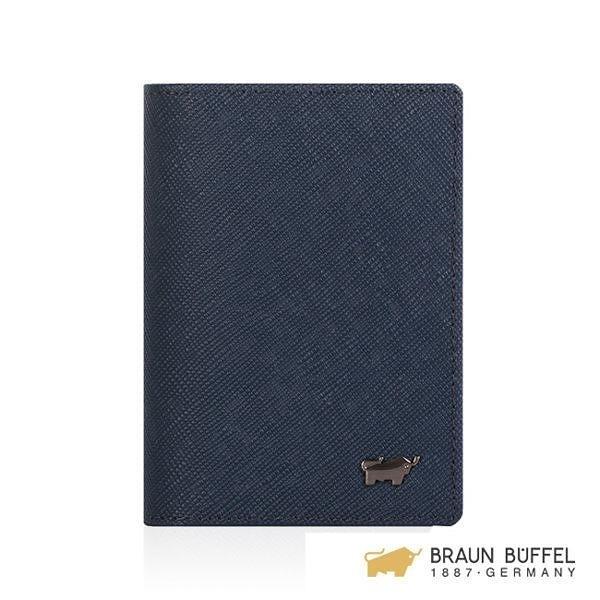 【南紡購物中心】【BRAUN BUFFEL】洛非諾III系列4卡名片夾 -午夜藍 BF314-402-MAR