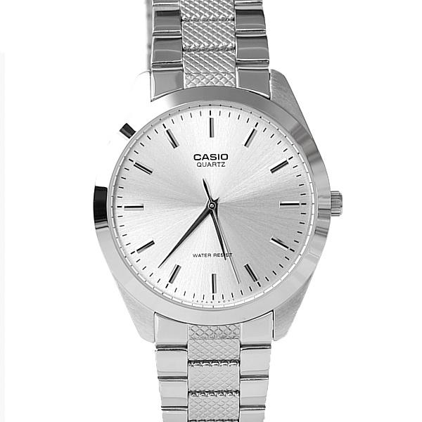 CASIO格紋錶帶銀色指針腕錶 簡約風格 不鏽鋼材質錶帶 柒彩年代【NEC116】