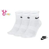 NIKE 襪子 成人男女款 大童 親子 薄底 運動襪 三雙入 SX407#白色◆OSOME奧森鞋業