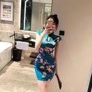 旗袍洋裝 2021年新款時尚改良版中國風年輕款修身性感真絲旗袍連身裙女士潮