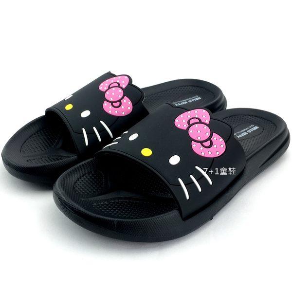 《7+1童鞋》HELLO KITTY   輕量防水  運動拖鞋  E006  黑色
