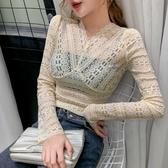 滿千免運~長袖T恤~3183#洋氣蕾絲打底衫女長袖網紗內搭性感鏤空V領T恤DC249A莎菲娜