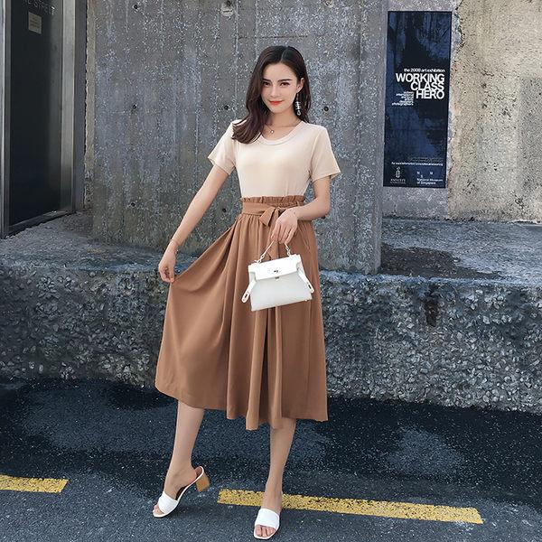 VK旗艦店 韓系時尚T恤寬口褲氣質褶皺高腰顯瘦套裝短袖裙裝