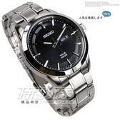 SEIKO 精工錶 貨SOLAR 太陽能電力黑面銀色不鏽鋼鐵帶男錶手錶SNE363P1 V