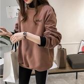 胖妹妹大碼女裝加絨加厚衛衣外套2019秋冬新款高領假兩件網紅上衣 韓語空間