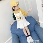 童裝女童中大童長袖連衣裙時髦韓版兒童洋氣衛衣裙潮 蓓娜衣都