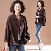 外套上衣開衫秋衣中大尺碼L-5XL新款燈芯絨單排扣純色寬鬆上衣NB11-7109.