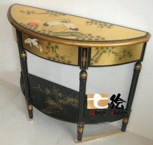 新古典中式漆器 金箔手繪松鶴 鬥櫃