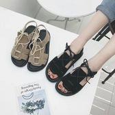 厚底羅馬系帶女涼鞋學生鞋女鞋【黑色地帶】