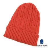 GLOBAL WORK男女素色麻花編織感反摺毛帽-四色
