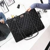 新款女包歐美時尚菱格鍊條大包包簡約單肩手提包大容量托特包 時尚潮流