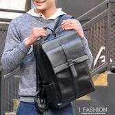 潮流時尚休閒青年雙肩包男士背包日韓版大容量黑色PU皮書包男-Ifashion