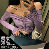 克妹Ke-Mei【AT62860】獨家 歐美單!性感深V荷葉邊低胸一字領長袖上衣