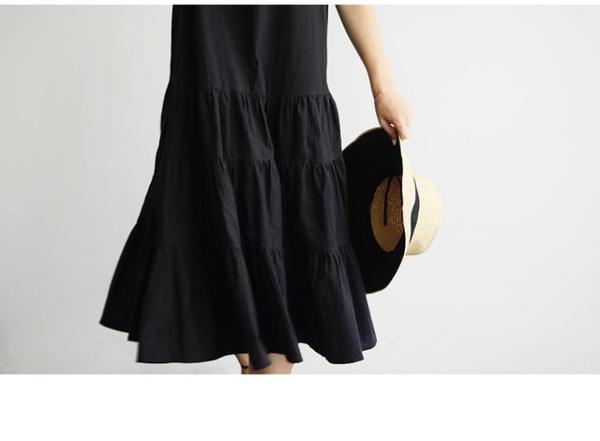 日系棉麻洋裝長裙~無袖森女文藝長款蛋糕裙亞麻棉麻連身裙打底吊帶背心長裙DC131衣時尚