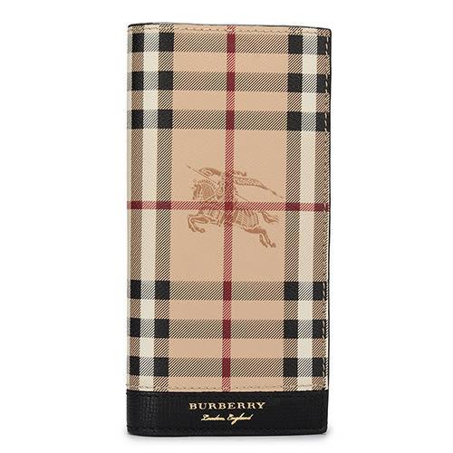 BURBERRY Haymarket 燙金LOGO戰馬經典格紋防刮皮革直式男用長夾(駝/黑)080151