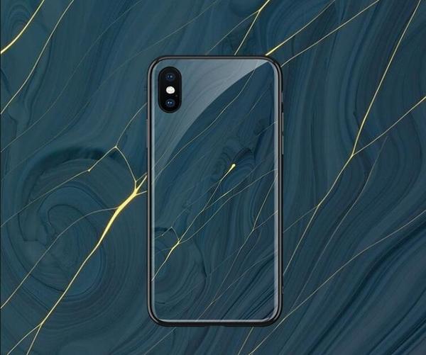 大理石防摔純色IPhone 11pro手機套 簡約iphone 11保護套 個性創意玻璃蘋果11pro Max手機殼