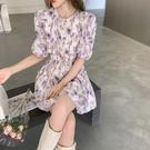 雪紡洋裝 2021夏季新款法式復古短袖連身裙女泡泡袖收腰氣質小個子雪紡短裙 晶彩