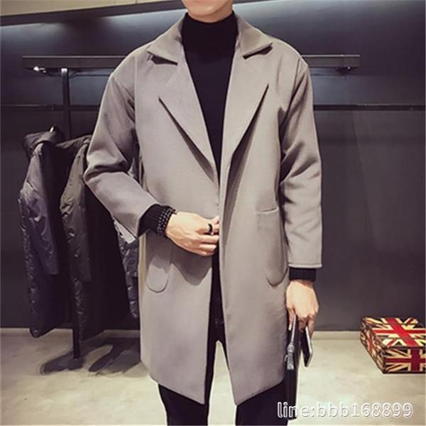 外套男 秋冬季風衣男士潮牌中長款毛呢大衣帥氣青年韓版寬鬆呢子外套男裝 城市科技