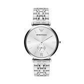 【Emporio Armani】美式經典羅馬時標簡約鋼帶腕錶-百搭銀/AR1819/台灣總代理公司貨享兩年保固