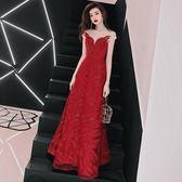 聖誕感恩季 新娘敬酒服春季2018結婚新款秋季長款修身顯瘦紅色晚禮服裙女回門