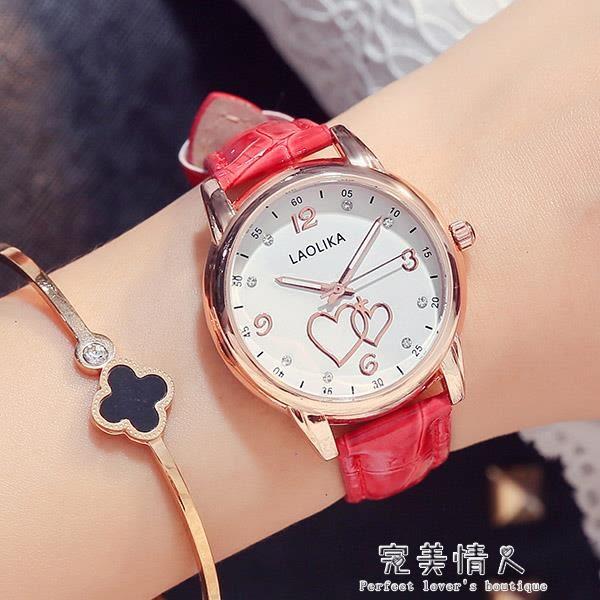 禮物可愛時尚夜光手錶皮帶錶防水女士手錶女高中學生 完美情人精品館